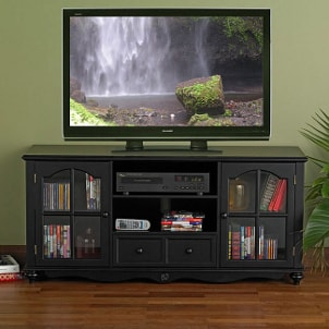 HDTV on a wood TV stand