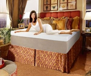 Woman on a memory foam mattress