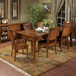 Dining table in furnished dining room