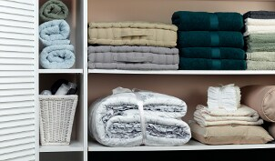 Closet shelving holding bath towels