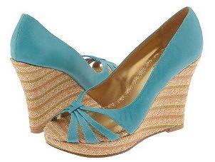 Pair of attractive peep-toe wedge heels
