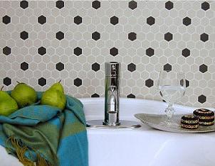 Black and white tile around the tub
