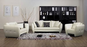 White leather furniture set in furnished living room