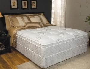box spring mattress with bed frame and pillows