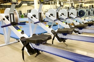 Rowing machines at a gym