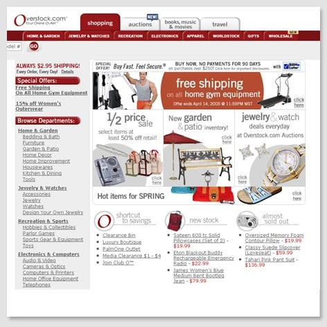 2005 s Homepage. About Us   Overstock com