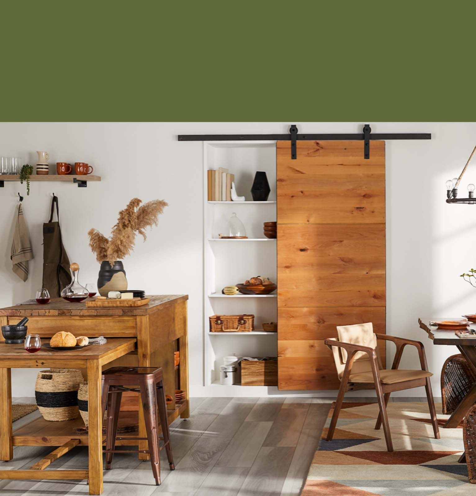 a fall themed kitchen with a wooden island and a barn door pantry and other fall kitchen and dining updates at overstock.