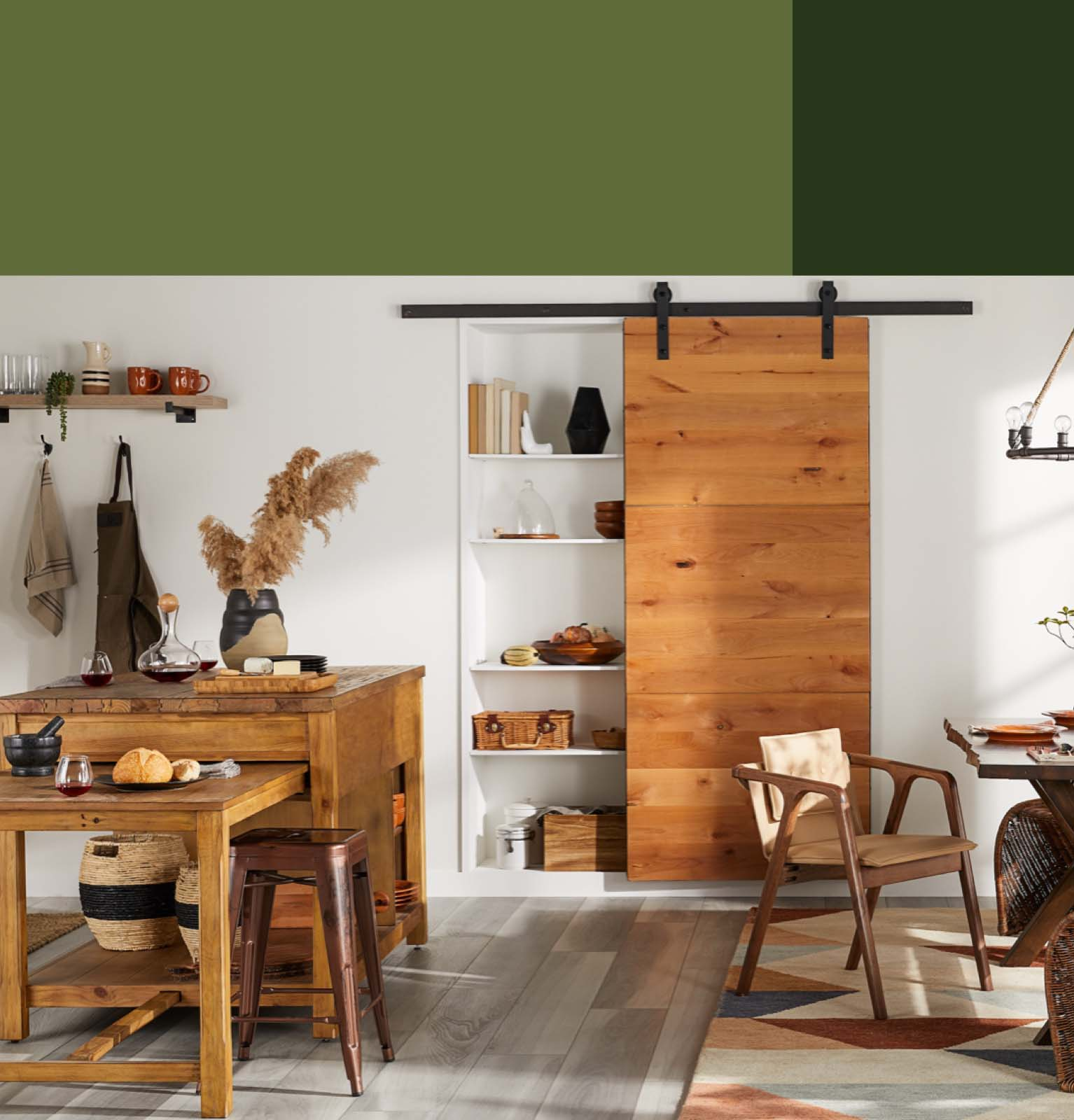 a fall kitchen with a wood island and a barn door pantry with fall kitchen and dining updates starting at $89 at overstock.