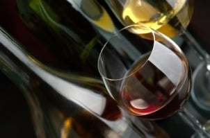 A close-up of red and white wine