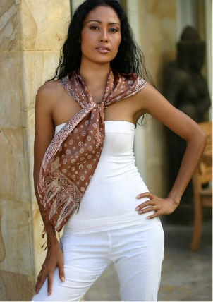 Woman wearing a long silk scarf
