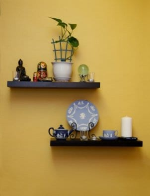Well-decorated floating shelves