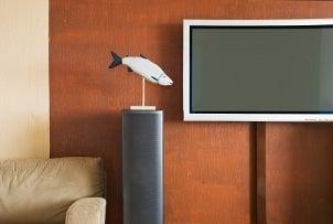 Flat screen TV mounted on a wall