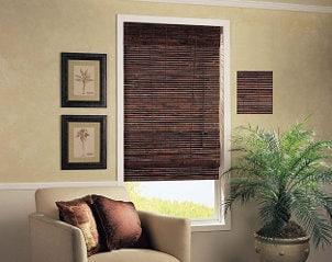 Brown window blinds dress up living room window