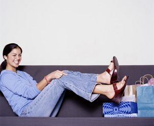 Woman excited about new shoes