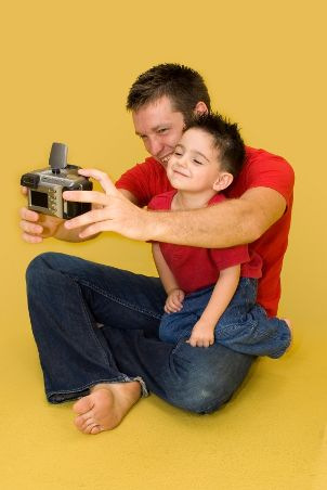 Father and son wearing men's jeans