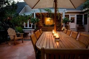 Garden patio with outdoor speakers installed