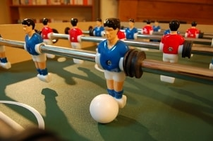 Close-up of foosball player