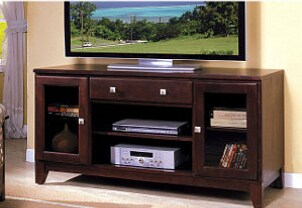 Flatscreen TV on a wood TV stand