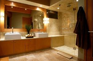 Rain shower fixture in a modern bath