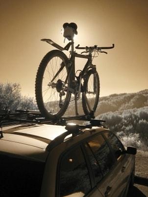 Bike rack on top of an SUV
