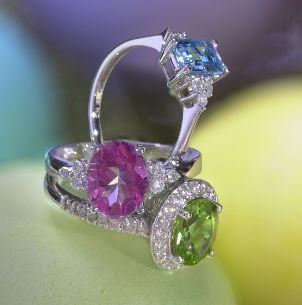 Three stunning fancy diamond engagement rings