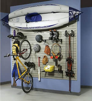 Sports equipment hanging on a storage unit