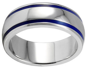Men's blue and silver titanium wedding band ring