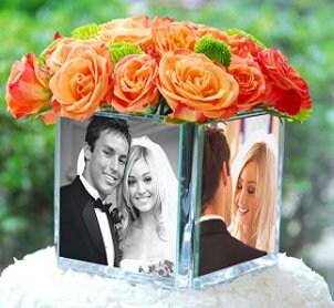 Wedding flowers atop a wedding cake