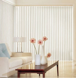 Vertical blinds add light to contemporary living room