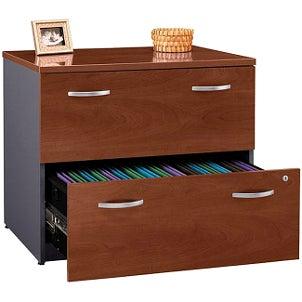 Organized wood file cabinet