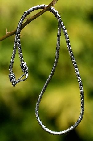 Beautiful sterling silver necklace hanging from a tree