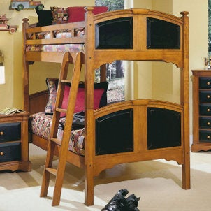 Wooden bunk beds with contrasting accents