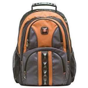 Orange and grey canvas backpack