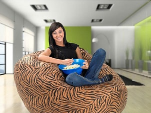 Woman on a leopard-print beanbag