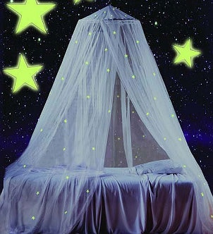 Bed canopy with glow-in-the-dark stars