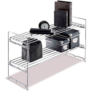 Office supplies on a chrome wire storage rack