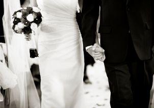 Bride wearing a flattering wedding gown