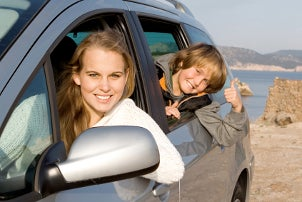 Family riding in a van with a radar detector