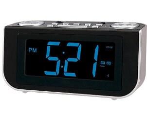 Black clock radio with a blue display