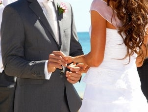 A bride and groom exchanging wedding rings