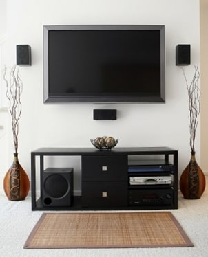 Modern LCD TV mounted on the wall