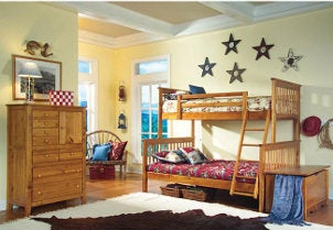 Wooden bunk beds in a decorated bedroom