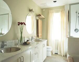 Double vanity sinks in a marble countertop