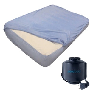 Airbed with blue sheets