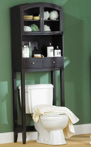 Dark brown bathroom cabinet with glass doors and knobs