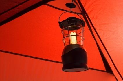 Camping by Coleman lantern light