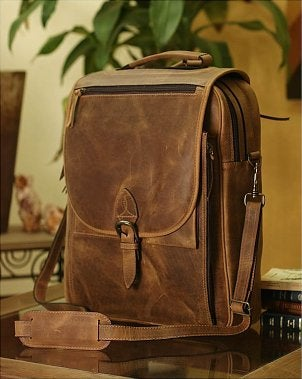 Brown distressed leather messenger bag