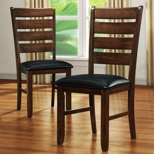 Wood dining chairs with leather seats