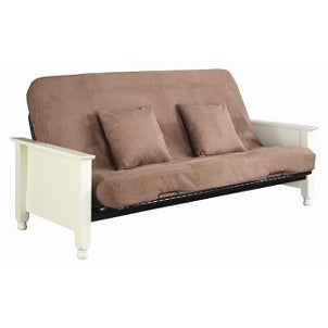 Beige futon sofa with a cover
