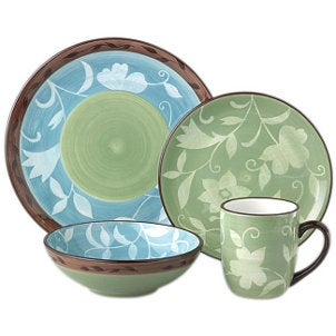 Blue and green flowered dinnerware set